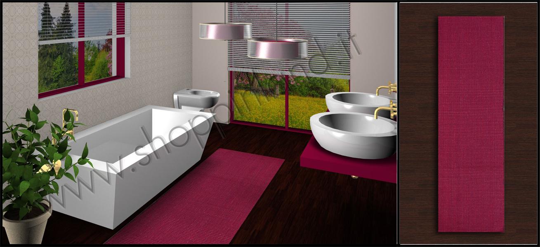 Tappeti shaggy scopri i nostri bellissimi tappeti per bagno in cotone rigati prezzi outlet - Tappeto bagno rosso ...