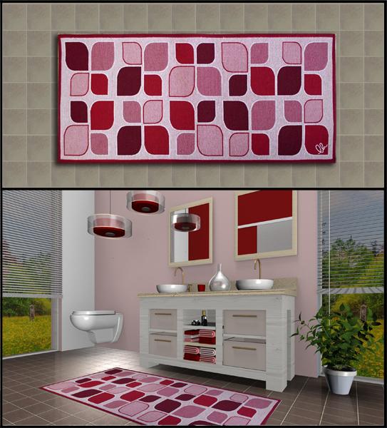 Tappeti shaggy rinnova il tuo bagno con gli originali tappeti foglia stilizzata a prezzi outlet - Tappeto bagno rosso ...