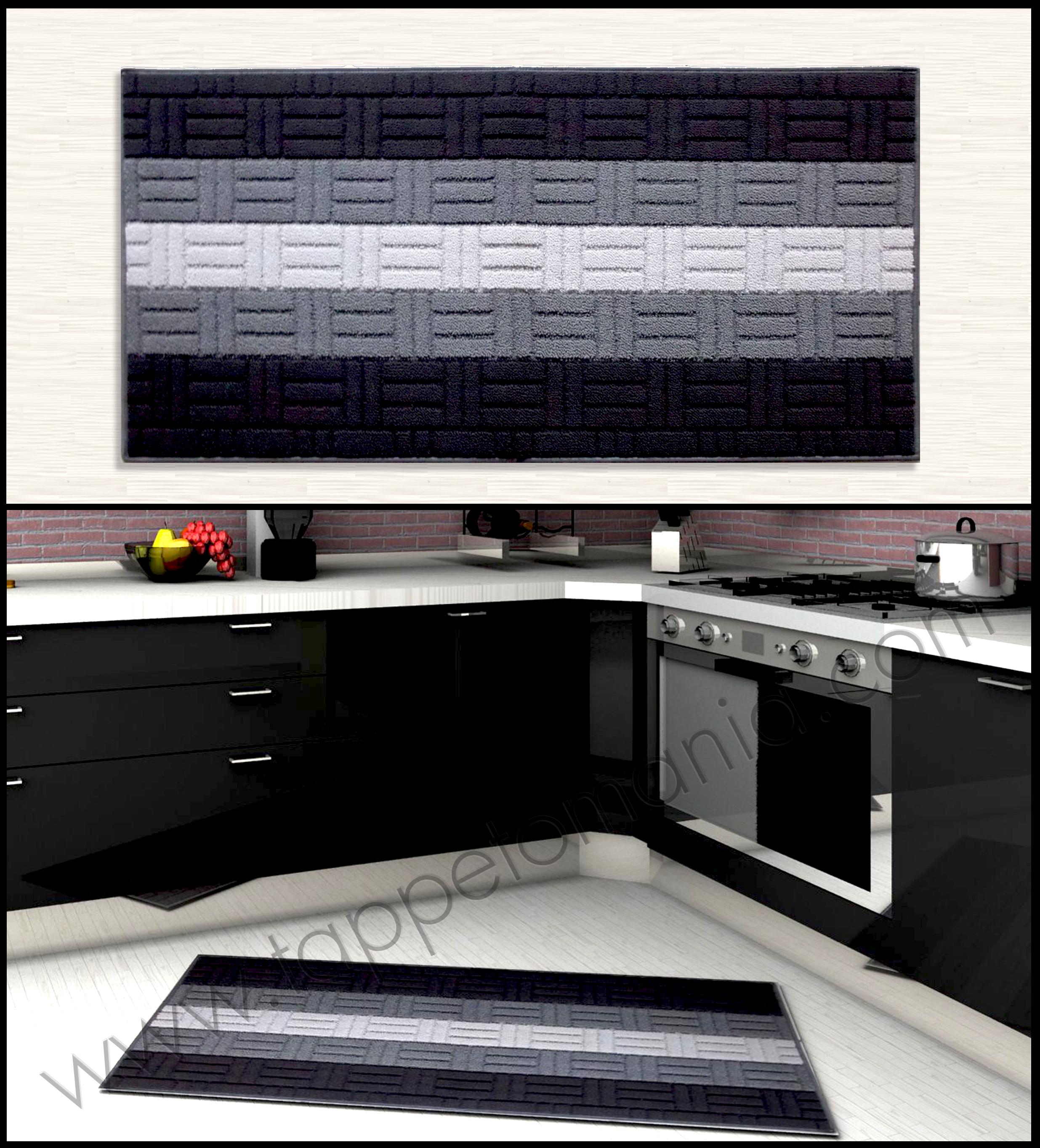 tappeto per la cucina on line a prezzi bassi righe bianche grigie nere on line