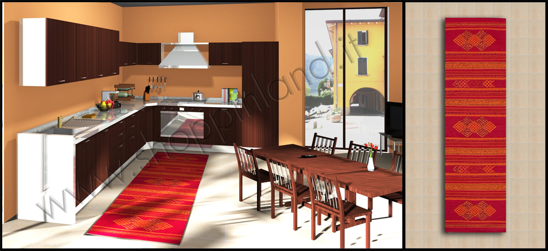 tappeti cucina on line colore rosso in cotone a prezzi bassi