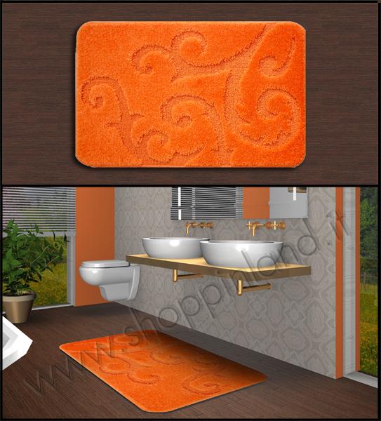 tappeti per il bagno antiscivolo che arredano colore arancione