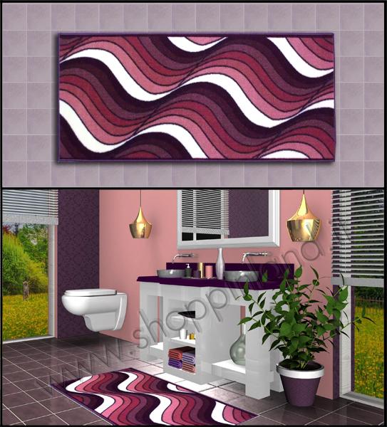 tappeti per il bagno viola antiscivolo decoro onde design moderno shoppinland a prezzi bassi