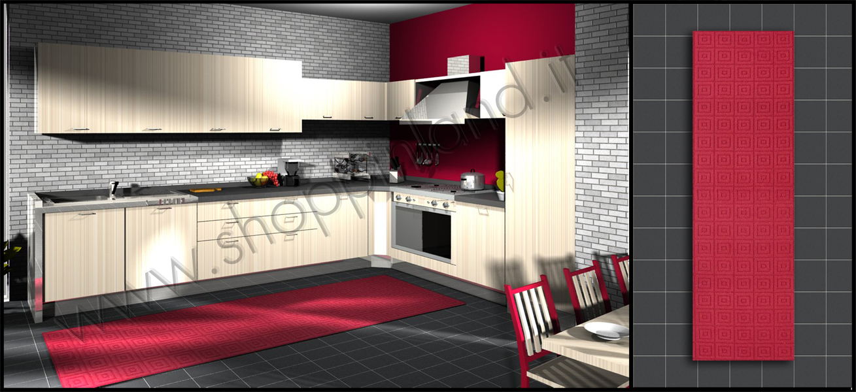 Tappeti per la cucina antiscivolo decoro in rilievo quadretti a prezzi