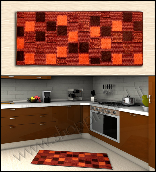 tappeti per la cucina on line a prezzi bassi quadretti in sconto marrone arancione
