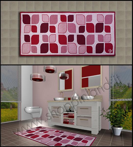 tappeto bagno moderno e elegante design foglie atsratte rosso antiscivolo on line economici in offerta shoppinland