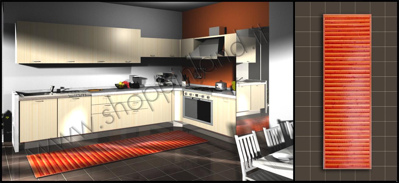 prezzi outlet arreda la cucina con il tappeto bamboo arancio antimacchia