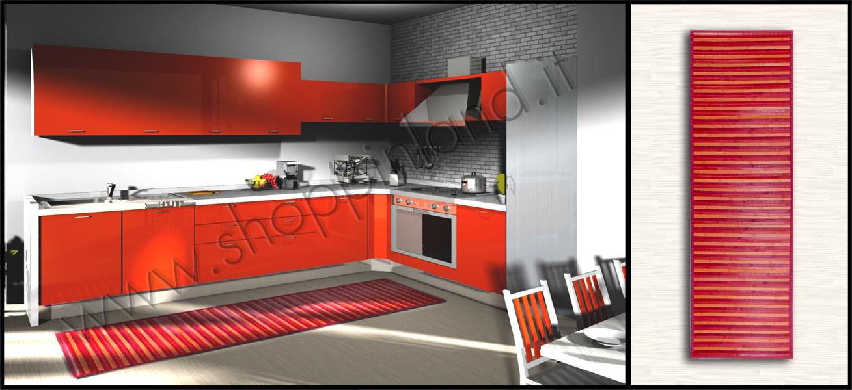 arreda la cucina con il tappeto bamboo rosso antimacchia