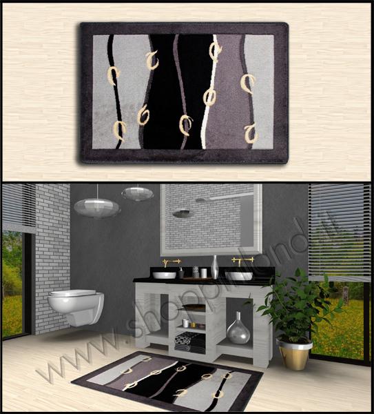 tappeti per il bagno grigio nero con decoro astratto shoppinland antiscivolo prezzi scontati,shoppinland