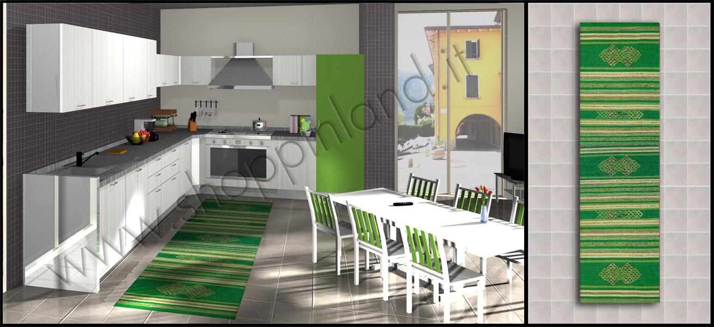 Tappeti moderni online per la cucina in cotone e a prezzi - La cucina verde ...