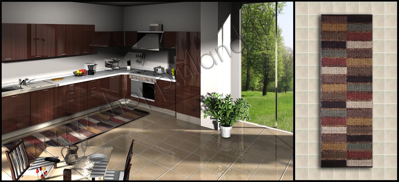 tappeti cucina marrone online in cotone sconti