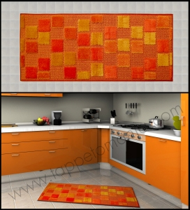 cucina tappeto quadr pelosi giallo arancio