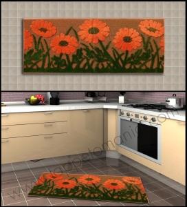 cucina tappeto fiori arancione tappetomania
