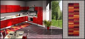 cucina tappeto righe peloso rosso